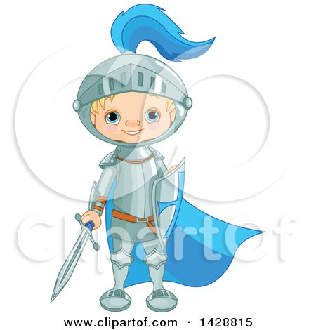 Clipart of a Cute Blond Caucasian Knight Boy Standing with a Sword and Shield - Royalty Free Vector Illustration by Pushkin
