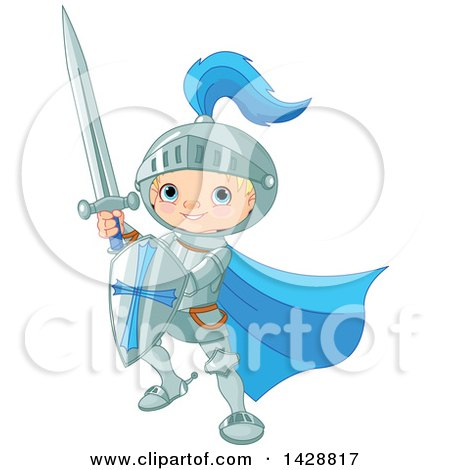 Clipart of a Cute Blond Caucasian Knight Boy Fighting with a Sword and Shield - Royalty Free Vector Illustration by Pushkin