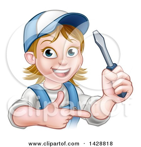 Clipart of a Cartoon Happy White Female Electrician Holding up a Screwdriver and Pointing - Royalty Free Vector Illustration by AtStockIllustration