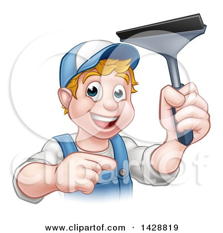 Clipart of a Cartoon Happy White Male Window Cleaner in Blue, Pointing and Holding a Squeegee - Royalty Free Vector Illustration by AtStockIllustration