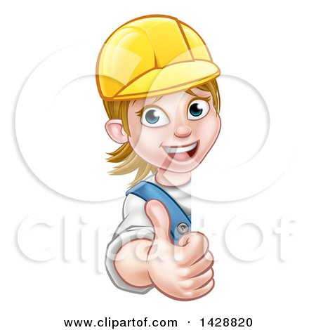 Cartoon Happy White Female Worker Giving a Thumb up Around a Sign Posters, Art Prints