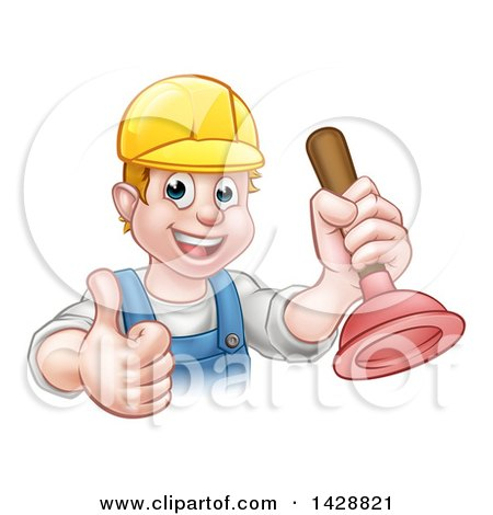 Clipart of a Cartoon Happy White Male Plumber Holding a Plunger and Giving a Thumb up - Royalty Free Vector Illustration by AtStockIllustration