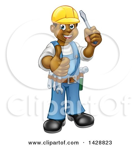 Clipart of a Cartoon Full Length Happy Black Male Electrician Holding a Screwdriver and Giving a Thumb up - Royalty Free Vector Illustration by AtStockIllustration