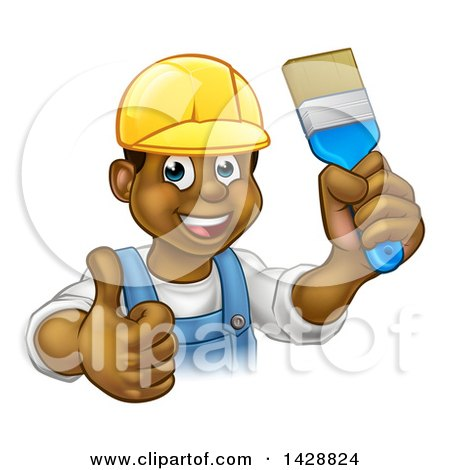 Clipart of a Cartoon Happy Black Male Painter Holding up a Brush and Giving a Thumb up - Royalty Free Vector Illustration by AtStockIllustration