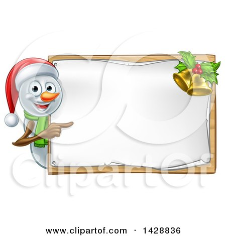 Clipart of a Happy Snowman Wearing a Christmas Santa Hat and Pointing Around a Blank Sign - Royalty Free Vector Illustration by AtStockIllustration
