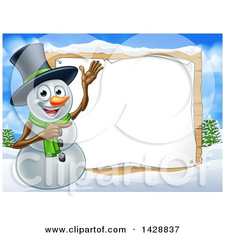 Clipart of a Happy Snowman Wearing a Top Hat and Presenting a Blank Sign in a Winter Landscape - Royalty Free Vector Illustration by AtStockIllustration