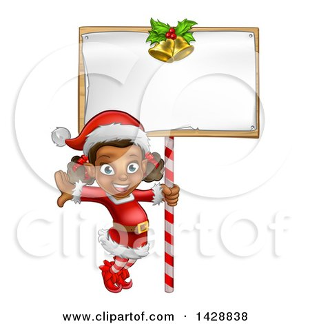 Clipart of a Happy Black Female Christmas Elf Jumping by a Blank Sign - Royalty Free Vector Illustration by AtStockIllustration