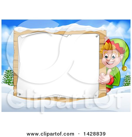 Clipart of a Happy Caucasian Male Christmas Elf Giving a Thumb up Around a Blank Sign in a Winter Landscape - Royalty Free Vector Illustration by AtStockIllustration