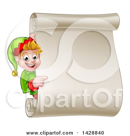 Clipart of a Happy Caucasian Male Christmas Elf Pointing Around a Blank Scroll Sign - Royalty Free Vector Illustration by AtStockIllustration