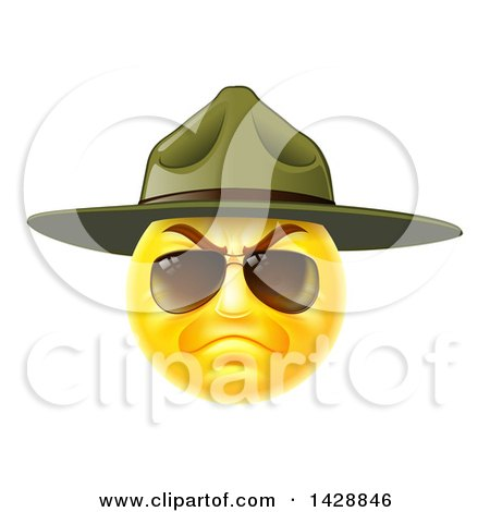 Clipart of a Stern Emoji Smiley Face Emoticon Face Army Drill Sergeant Wearing Sunglasses and a Hat - Royalty Free Vector Illustration by AtStockIllustration