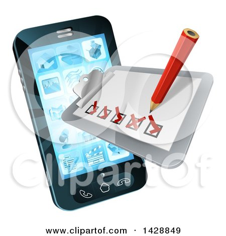 Clipart of a 3d Pencil and Survey Check List Emerging from a Smart Cell Phone Screen - Royalty Free Vector Illustration by AtStockIllustration