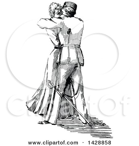 Clipart of a Vintage Black and White Sketched Woman and Soldier Kissing - Royalty Free Vector Illustration by Prawny Vintage