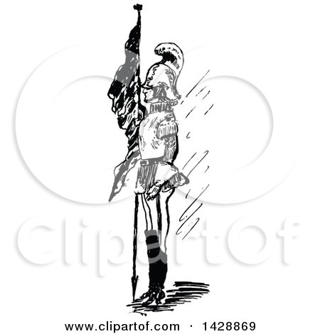 Clipart of a Vintage Black and White Sketched Soldier - Royalty Free Vector Illustration by Prawny Vintage
