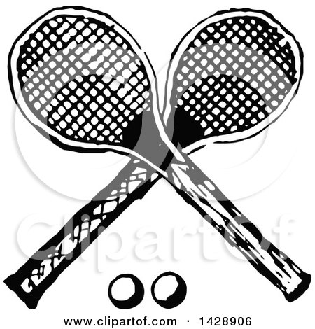 Clipart of a Vintage Black and White Sketched Crossed Tennis Racket and Ball Design - Royalty Free Vector Illustration by Prawny Vintage