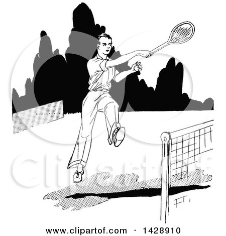 Clipart of a Vintage Black and White Sketched Tennis Player - Royalty Free Vector Illustration by Prawny Vintage