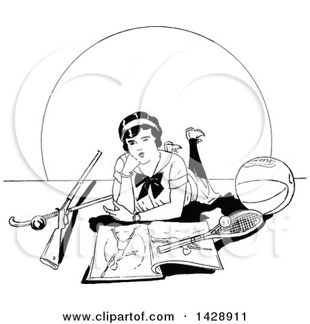Clipart of a Vintage Black and White Sketched Woman with Sports Equipment - Royalty Free Vector Illustration by Prawny Vintage