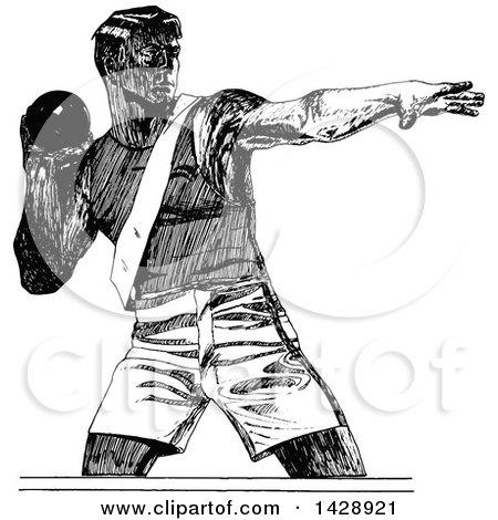 Clipart of a Vintage Black and White Sketched Shot Putter Athlete - Royalty Free Vector Illustration by Prawny Vintage