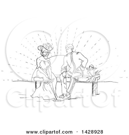 Clipart of a Vintage Black and White Sketched Cherub and Couple on a Bench at Sunset - Royalty Free Vector Illustration by Prawny Vintage