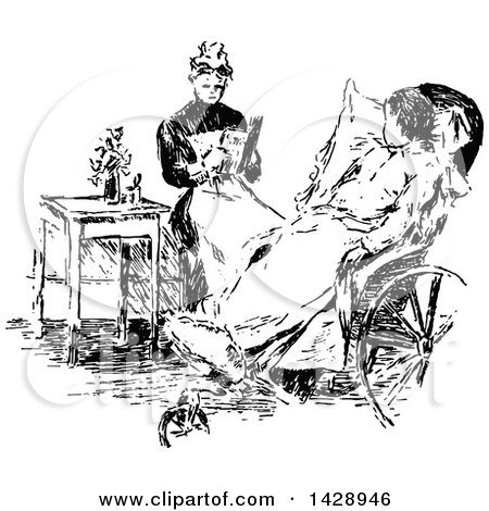 Clipart of a Vintage Black and White Sketched Woman Tending to a Sick Child - Royalty Free Vector Illustration by Prawny Vintage