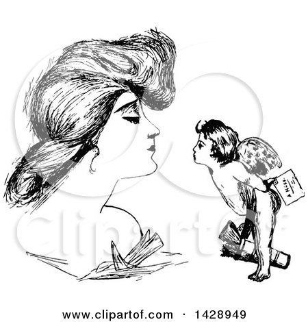 Clipart of a Vintage Black and White Sketched Woman and Cupid - Royalty Free Vector Illustration by Prawny Vintage