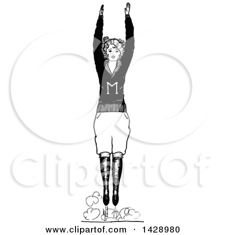 Clipart of a Vintage Black and White Sketched Cheerleader - Royalty Free Vector Illustration by Prawny Vintage