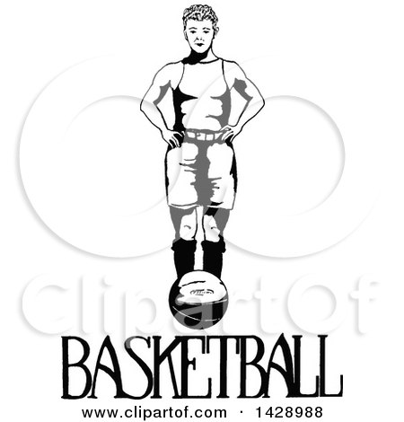 Vintage Black and White Sketched Basketball Player Posters