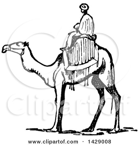 Clipart Of A Retro Vintage Black And White Arabian Couple