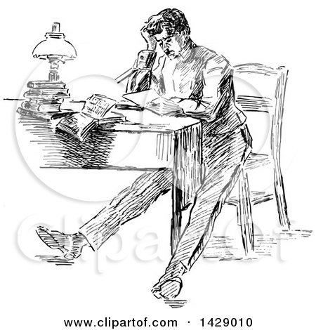 Clipart of a Vintage Black and White Sketched Stressed Man Sitting at a Desk - Royalty Free Vector Illustration by Prawny Vintage