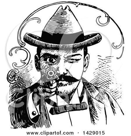 Clipart of a Vintage Black and White Man Aiming a Gun - Royalty Free Vector Illustration by Prawny Vintage
