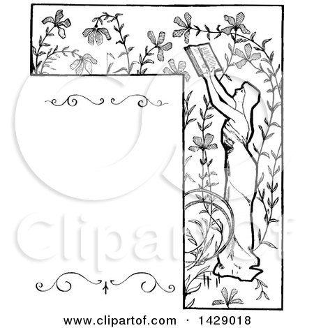 Clipart of a Vintage Black and White Sketched Woman Reading and Floral Border - Royalty Free Vector Illustration by Prawny Vintage