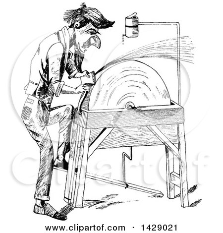 Clipart of a Vintage Black and White Sketched Man Sharpening an Axe - Royalty Free Vector Illustration by Prawny Vintage