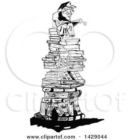 Clipart of a Vintage Black and White Sketched Professor on a Pile of Books - Royalty Free Vector Illustration by Prawny Vintage