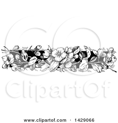 Clipart of a Vintage Black and White Floral Border - Royalty Free Vector Illustration by Prawny Vintage