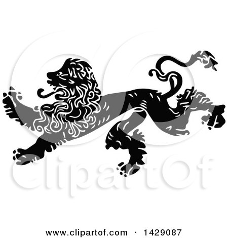 Clipart of a Vintage Black and White Male Lion - Royalty Free Vector Illustration by Prawny Vintage