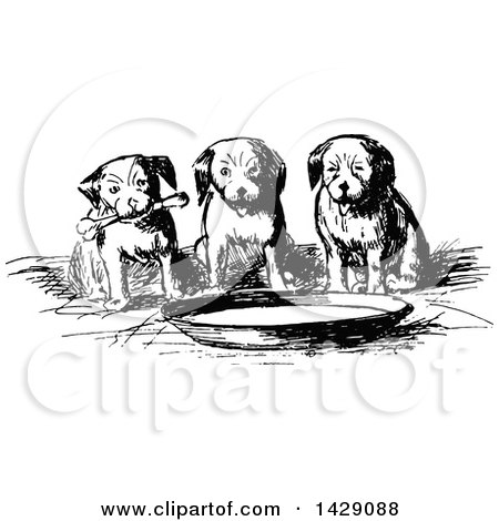 Clipart of a Vintage Black and White Sketched Group of Puppies Around a Bowl - Royalty Free Vector Illustration by Prawny Vintage