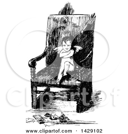 Clipart of a Vintage Black and White Sketched Pouting Cupid in a Chair - Royalty Free Vector Illustration by Prawny Vintage