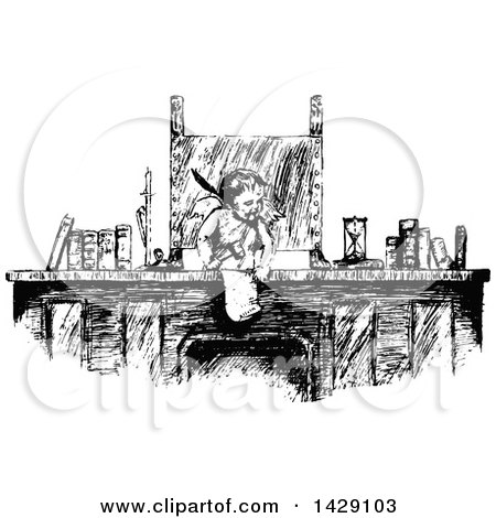 Clipart of a Vintage Black and White Sketched Cherub or Cupid at a Desk - Royalty Free Vector Illustration by Prawny Vintage