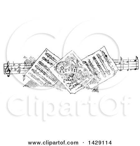 Clipart of a Vintage Black and White Sketched Border of Sheet Music - Royalty Free Vector Illustration by Prawny Vintage