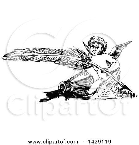 Clipart of a Vintage Black and White Sketched Cherub with a Feather Quill - Royalty Free Vector Illustration by Prawny Vintage