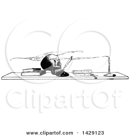 Clipart of a Vintage Black and White Sketched Skull and Boks on a Desk - Royalty Free Vector Illustration by Prawny Vintage