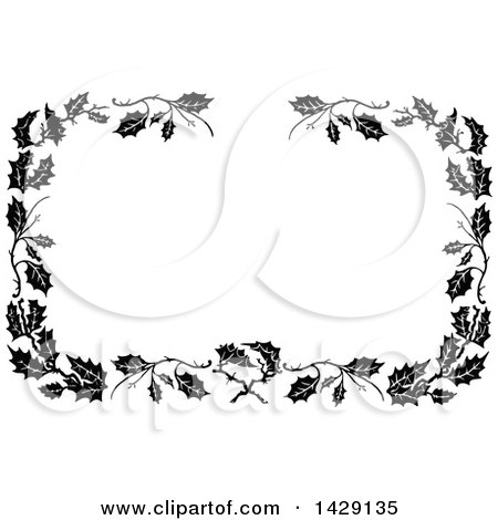 Clipart of a Vintage Black and White Border of Leaves - Royalty Free Vector Illustration by Prawny Vintage