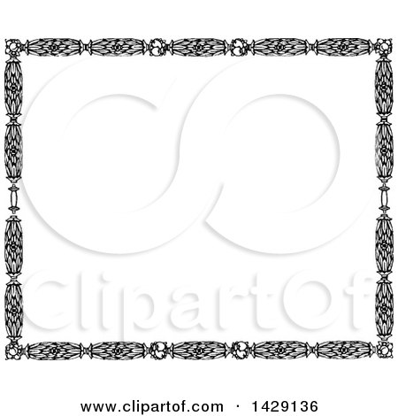 Clipart of a Vintage Black and White Leaf Border - Royalty Free Vector Illustration by Prawny Vintage