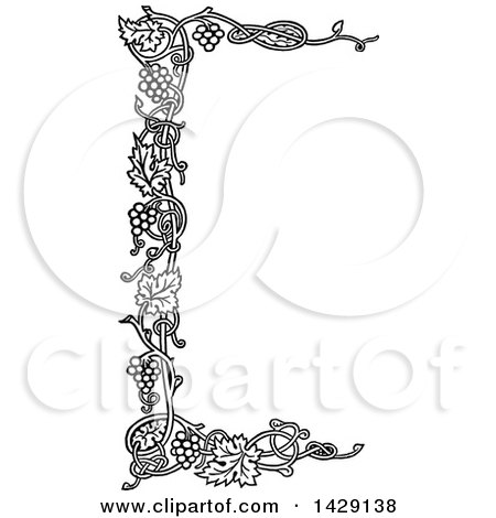 Clipart Vintage Black And White Grapes On The Vine ...