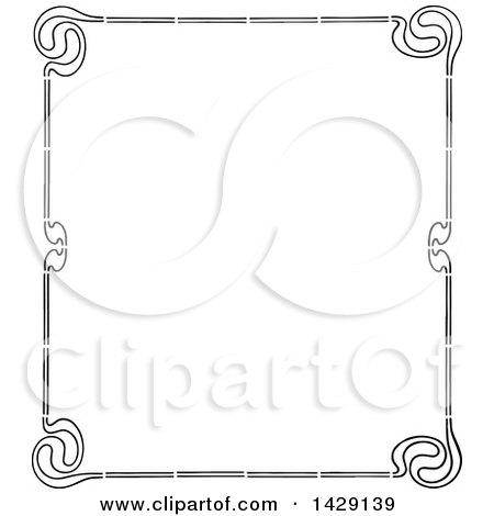 Clipart of a Vintage Black and White Border - Royalty Free Vector Illustration by Prawny Vintage