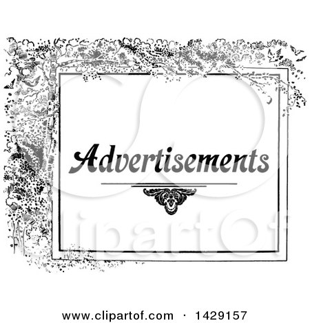 Clipart of a Vintage Black and White Advertisements Design with Branches - Royalty Free Vector Illustration by Prawny Vintage
