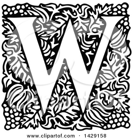 Clipart of a Vintage Black and White Grapes and Letter W Design - Royalty Free Vector Illustration by Prawny Vintage