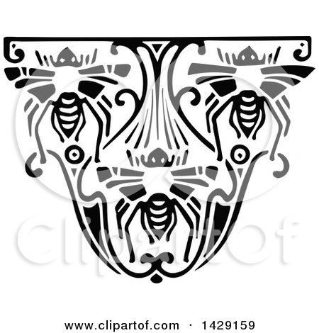 Clipart of a Vintage Black and White Bee Design - Royalty Free Vector Illustration by Prawny Vintage