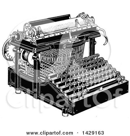 Vintage Black and White Typewriter Posters, Art Prints