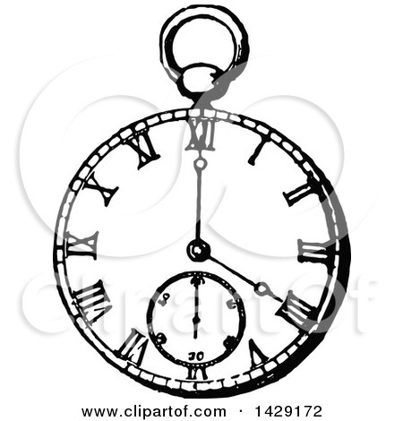 Clipart of a Vintage Black and White Pocket Watch - Royalty Free Vector Illustration by Prawny Vintage