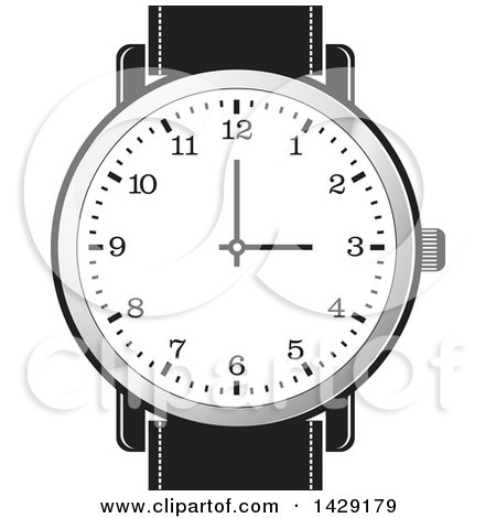 Clipart of a Wrist Watch - Royalty Free Vector Illustration by Lal Perera